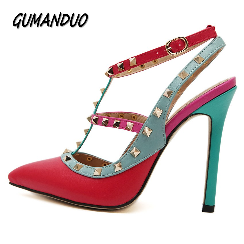 GUMANDUO summer women high heels shoes sandals fashion rivets pointed toe wedding party dress pumps shoes woman Buckle T-Strap women pumps flock high heels shoes woman fashion 2017 summer leather casual shoes ladies pointed toe buckle strap high quality