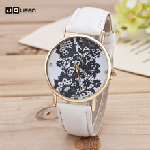 Hot Sale Luxury Women's Watch Fashion Leather Analog Classic Lace Printed Clock Casual Movement Quartz Wristwatch