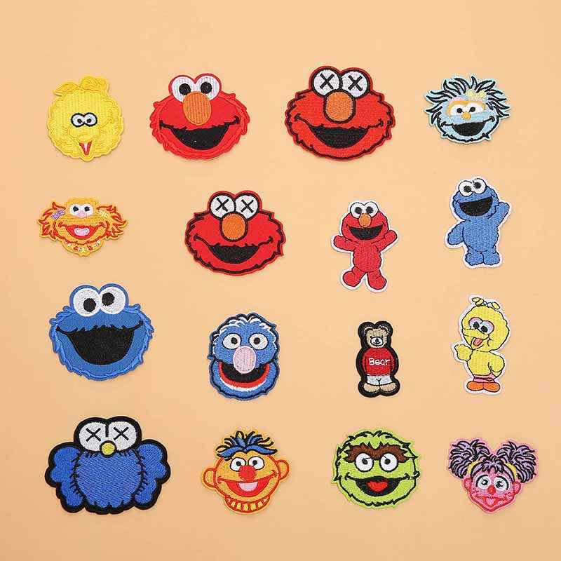 Sesame Street Patch Bordir Bordiran Besi dengan Lem Anime Elmo Cookie Monster Kain Lencana