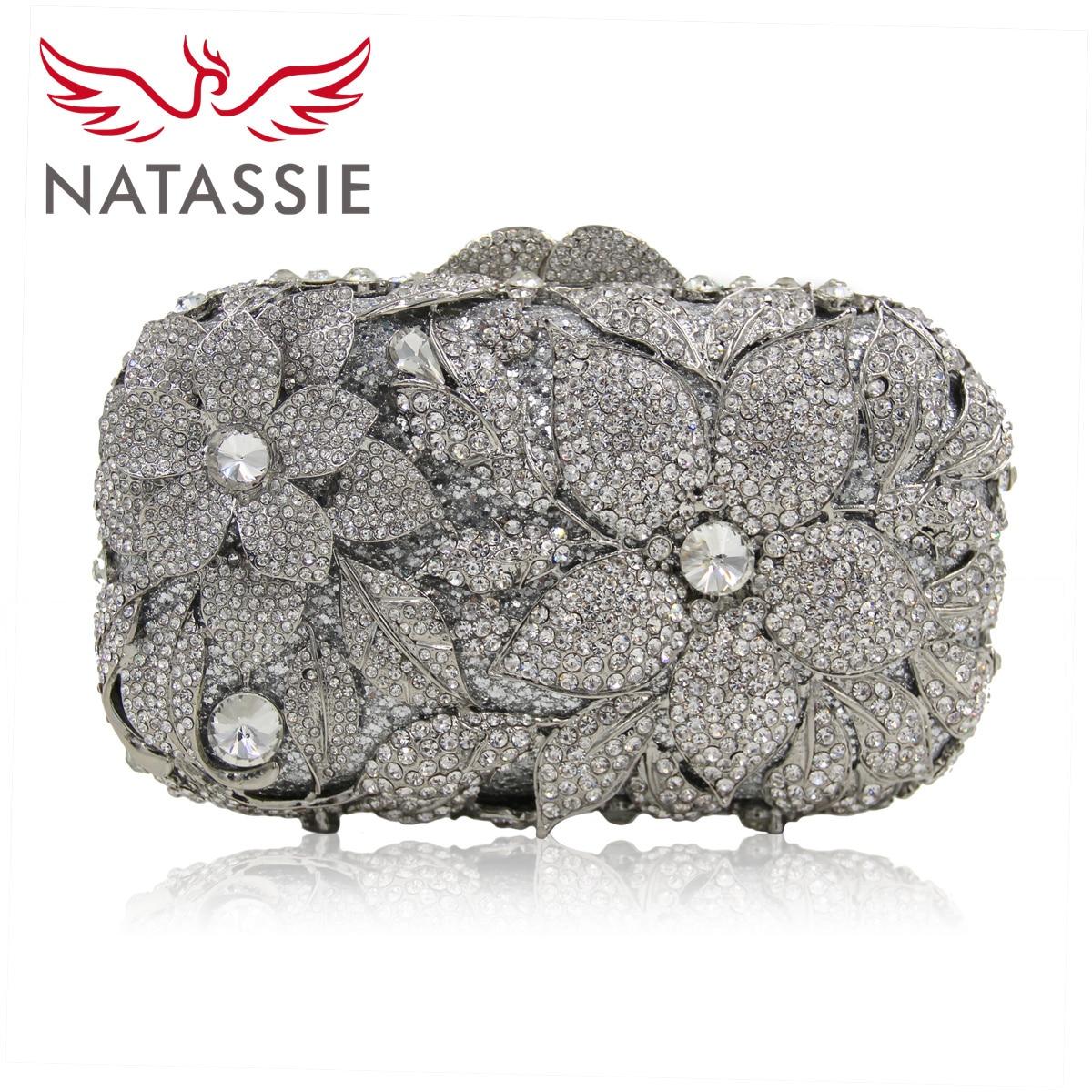 Natassie bolsa de noche de las mujeres de plata de la moda flor de cristal hembr