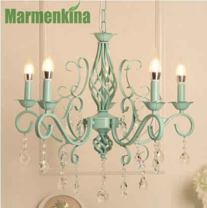 5/6 heads Candle crystal pendant lamp pastoral Nordic modern living room bedroom dining room Mediterranean children's lamp.
