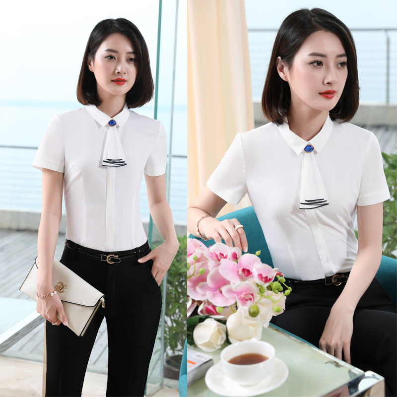 2017 Summer Tops 3xl Professional Size Sets And Sleeve With White Suits Pants Trousers Formal blue For Plus Short Ladies Pantsuits rrnF0Rd1