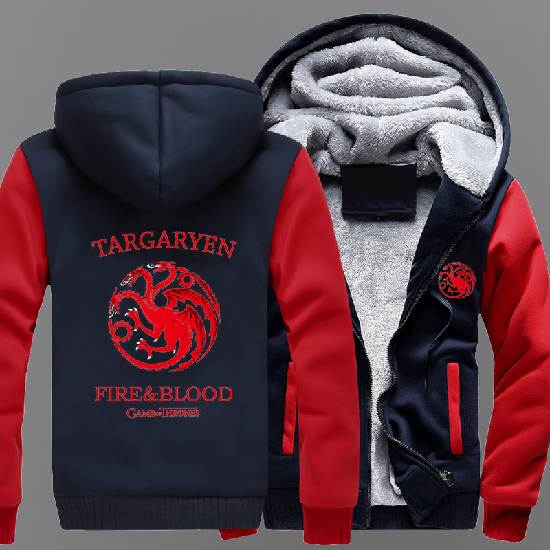MIDUO 2018 House Targaryen Warm Game of Thrones Winter Outerwear Men's Coats Men Fleece Sweatshirt Thicken Men Cotton Jacket Zip