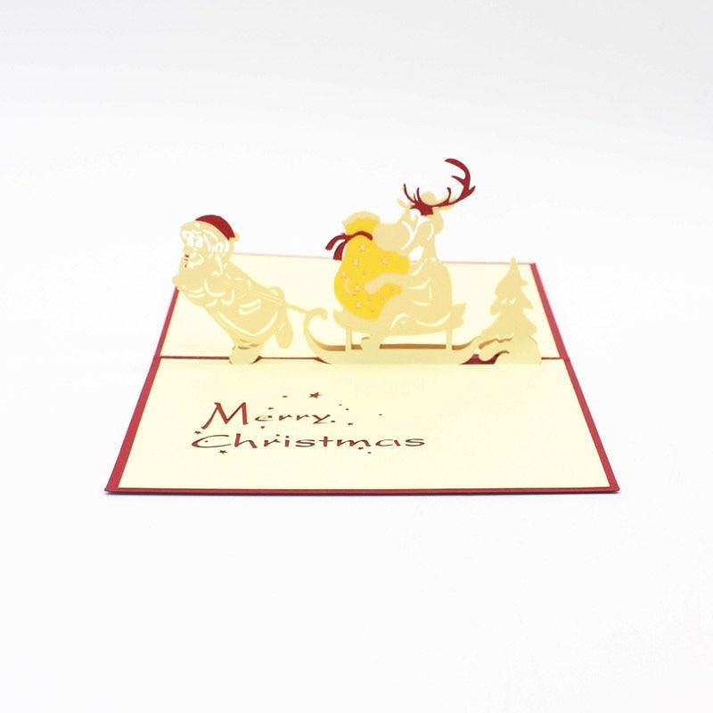 3D Laser Cut Handmade Cartoon Christmas Pull Sled Santa