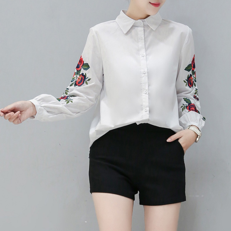 Summer Spring Womens Long Sleeve Blouse Floral Embroidered Shirt Striped Casual Shirt Tops