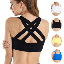 JINSEYUAN Seamless Sports Bra Top Fitness Women Racerback Running Removable Padded Yoga Bras High Impact Activewear gym crop top