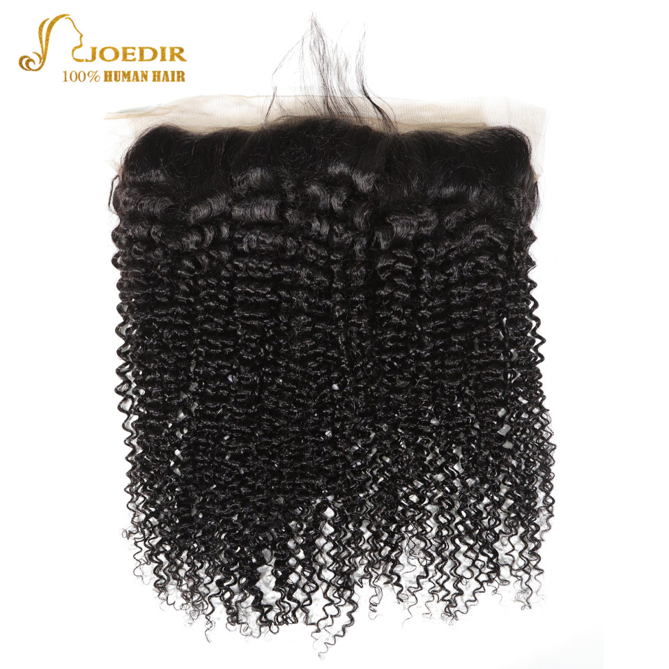 Joedir Pre Colored Brazilian Afro Kinky Curly Hair Closure 13*4 Lace Frontal Closure With Baby Hair Ear To Ear Free Part Remy