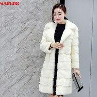2019 Женская норковая шуба зимняя женская длинная Пальто меховое натуральный норковый мех пальто с длинным разрезом нагрудные толстые теплы