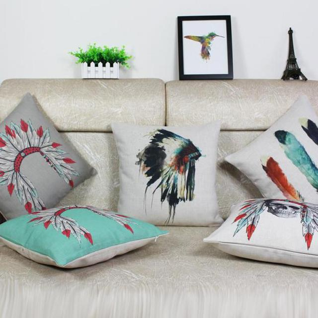 Almofada Atacadista 100% Nova Índios Estilo Folk Art Crânio Esqueleto  Cotton Linen Pillow Designer Home