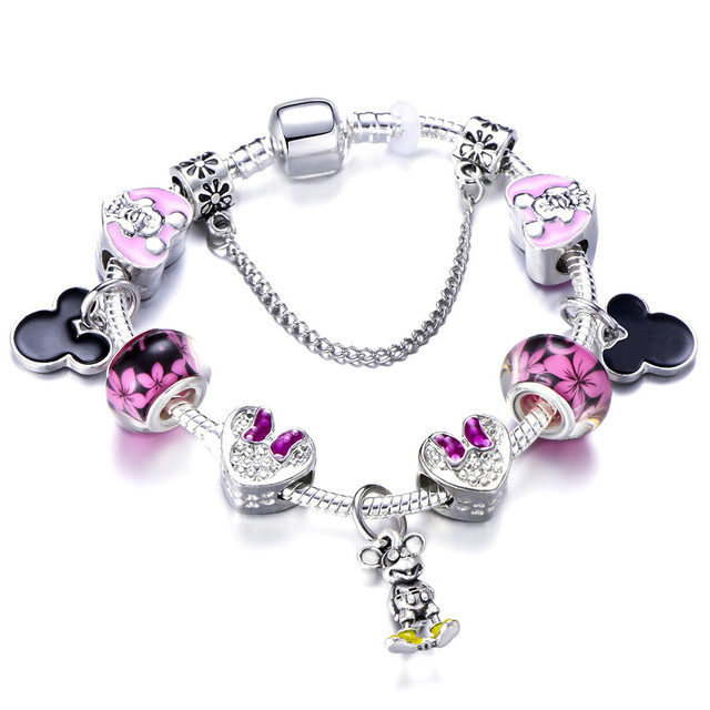 Antique Silver Plated Princess Dress Charm Bracelet With Mickey Minne Head Charms Fit Pandora Jewelry