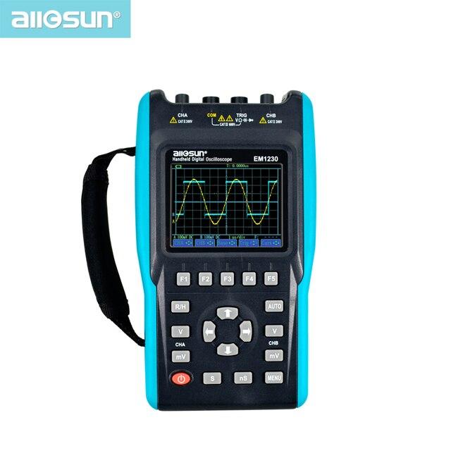 جهاز رسم ذبذبات 2in1 مع 2 قناة مع نطاق شاشة ملونة مقياس رقمي متعدد DMM مقياس EM1230 all sun