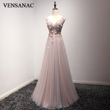 VENSANAC 2018 A Line Crystals Flowers V Neck Long Evening Dresses Elegant Tank Party Lace Beadings Tulle Prom Gowns