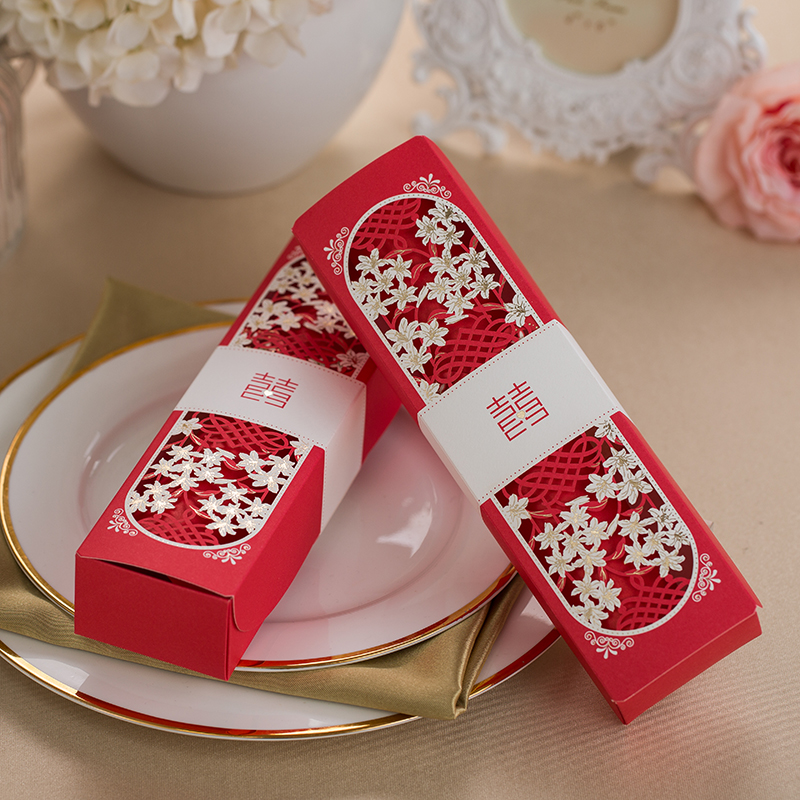 50 pcs Laser cutting Red Box packing Wedding Invitation cards with Roll style Inner sheet Personalize