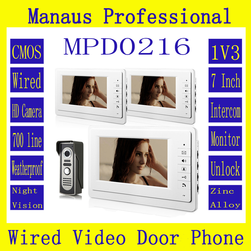 New Wired Magnetic Lock One To Three Video Doorphone Device,HighQuality 7 Inch Screen Keypad Display Video Intercom System D216b