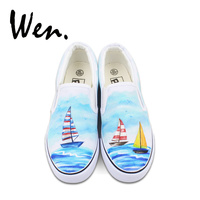 Wen Slip on Canvas Shoes Woman Vulcanized Shoes Sailing Boat Navigation Ocean Hand Painted Sneakers Shallow Mouth Platform Flat