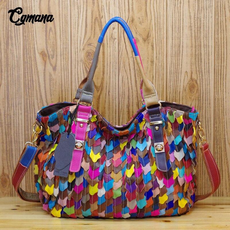 Bagaj ve Çantalar'ten Omuz Çantaları'de CGmana 100% Hakiki Deri Kadın Çanta 2018 Koyun Derisi Çanta Hit Renk Mozaik Renkli Dokuma askılı çanta gündelik çanta'da  Grup 1