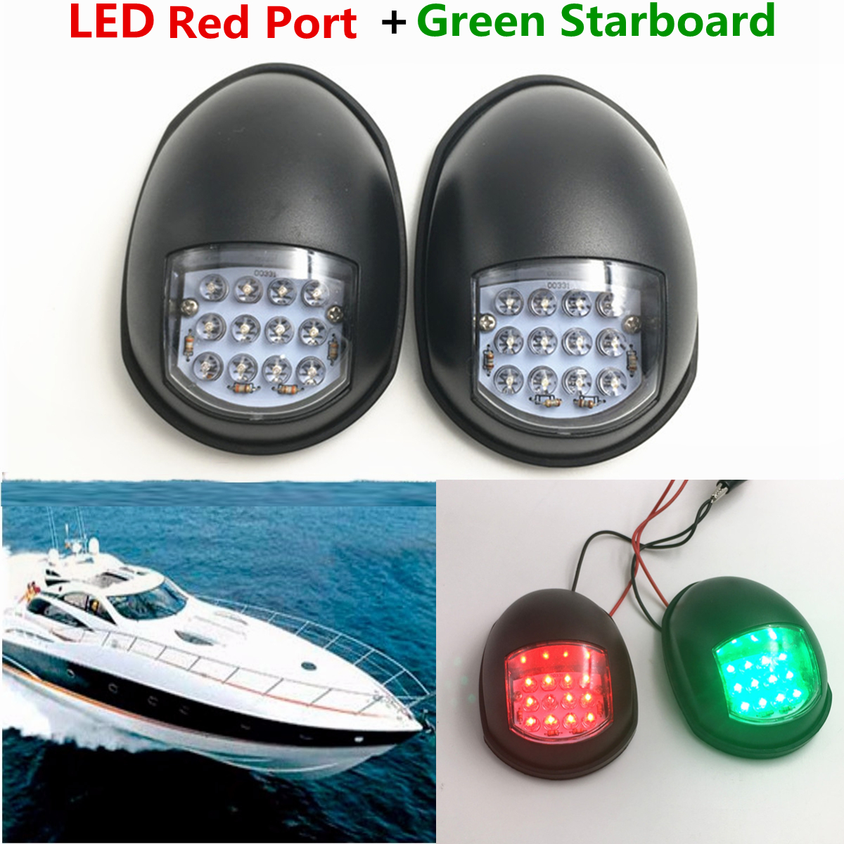 Red /& Green Port /& Starboard LED Replacement Running LIGHT Marine Lights