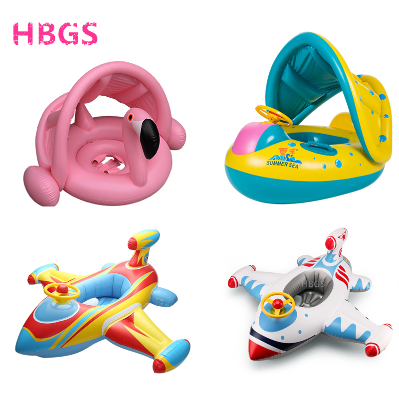 Kids Baby Inflatable Flamingo Swimming Ring Water Float Boat Raft Pool Swim Seat Fun Beach Toys For Children 2-6 Years