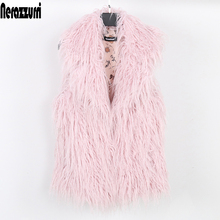 Nerazzurri Women faux fur vest plus size short pink autumn fake fur coat 2019 hairy large size Sleeveless jacket 5xl 6xl 7xl 8xl cheap Fur Faux Fur Wide-waisted Full Pelt Office Lady Pockets Button Thick Warm Fur Turn-down Collar Ages 18-35 Years Old Covered Button