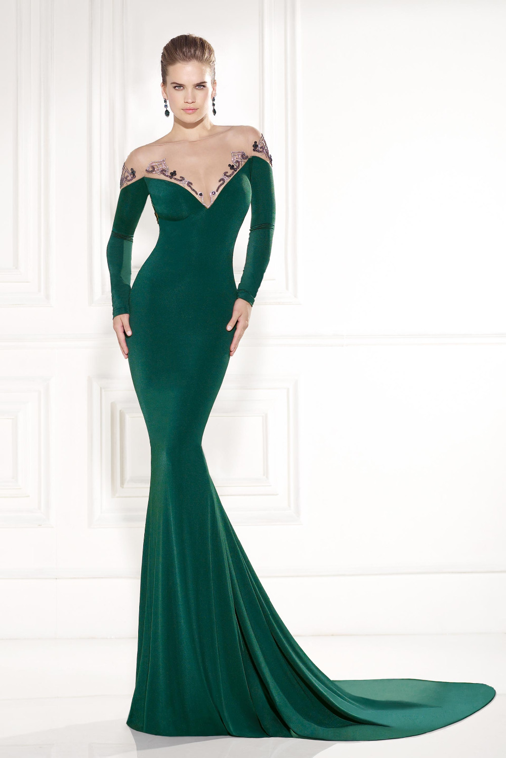 2015 Sexy Long Sleeve Evening Gown With Crystal Green Mermaid ...