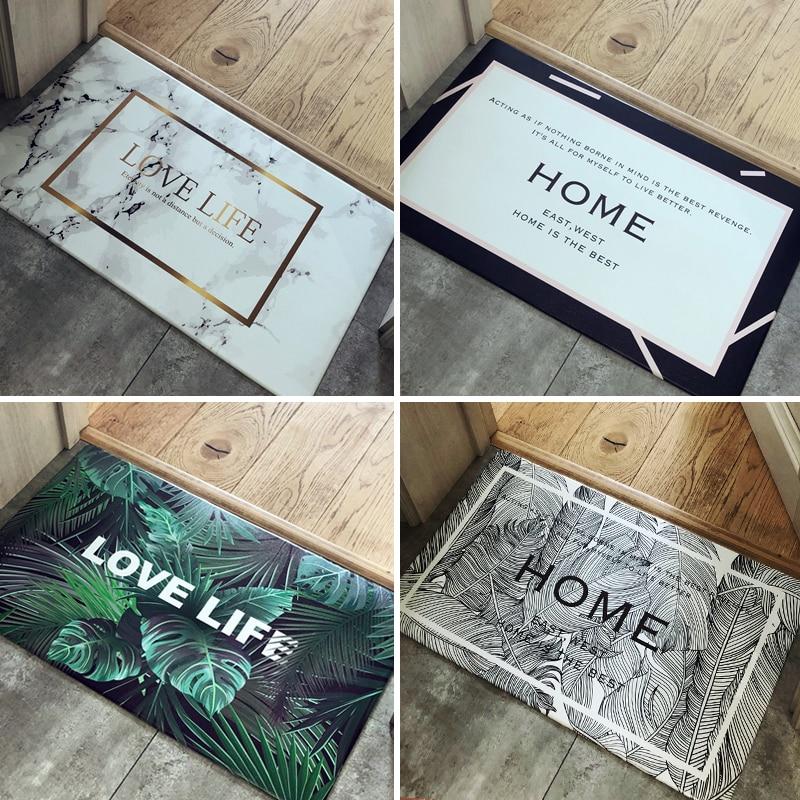 Nordic Minimalist Urban Series Welcome Home Door Mat PU Leather Waterproof Entrance Bathroom Kitchen Mat Ins Multi purpose Rugs