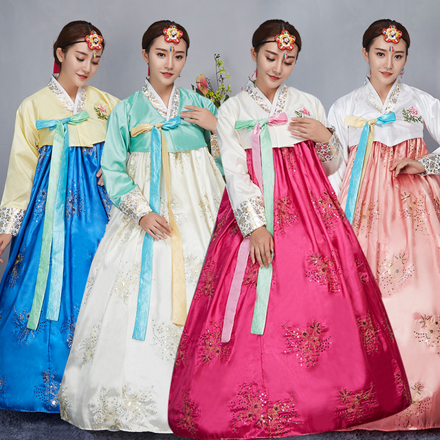 4 Color Fashion Korean Traditional Dress Embroider Women Hanbok Ancient Clothes Luxury