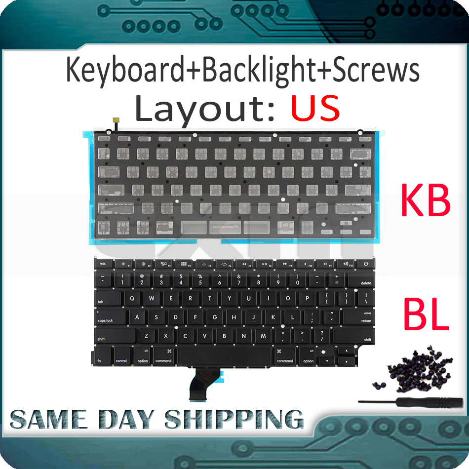 New A1502 US English Keyboard +Backlight+100Pcs Screws for Macbook Pro Retina 13 A1502 2013 2014 2015 EMC2678 EMC2875 EMC2835 image
