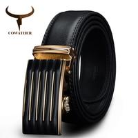 COWATHER New Designer Automatic Buckle Cowhide Leather Men Belt Fashion Luxury Belts For Men Designer Belts