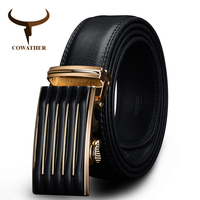 COWATHER New Designer Automatic Buckle Cowhide Leather Men Belt Fashion Luxury Belts For Men Designer Belts