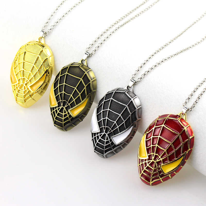 DC Marvel The Ultimate Spider-man Mask Pendant & Necklace High Quality Metal Spiderman Batman Super Hero Venom Necklace Jewelry
