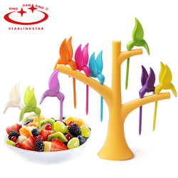 1Set Trees 6 forks bird tree Fruit Fork Creative Fruit Fork Toothpick Holder For Party Home Decor Hall Fork Kitchen Accessories