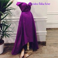 Plus Size Purple Prom Dresses With Short Sleeves High Low V Neck Open Back Simple Women