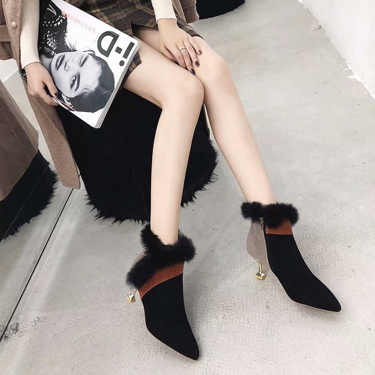 faux fur decoration ankle boots women gold high heeled plush winter booties mixed color suede leather peluche botas mujer s456 41