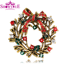 Merry Christmas Wreath Brooches Safety Pin Breastpin Accessory Fashion Jewelry Full Rhinestones Brooch New Year Women Men Gift