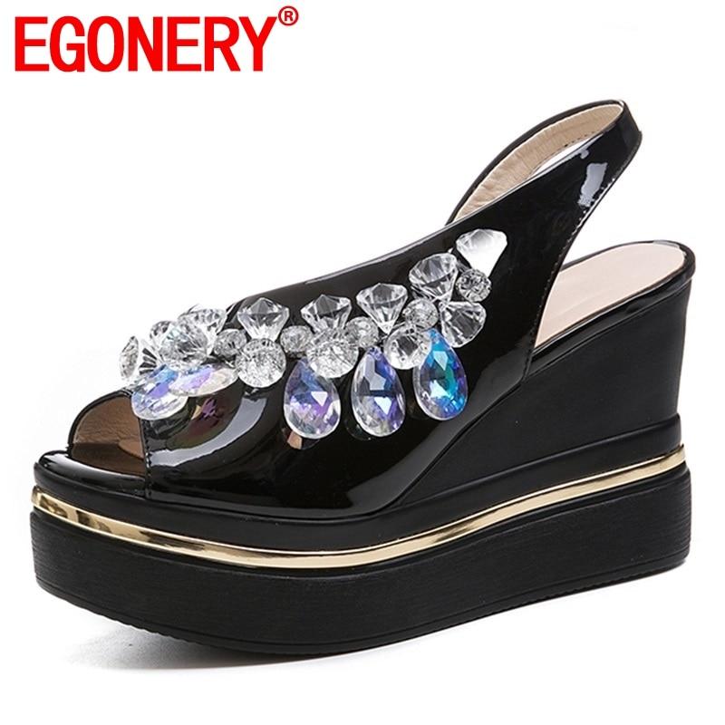 EGONERY woman sandals summer new popular handmade crystal superfine fiber women shoes outside super high wedges