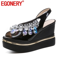 EGONERY woman sandals summer new popular handmade crystal superfine fiber women shoes outside super high wedges platform shoes
