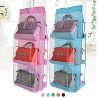 1 stück Mode 6 Taschen Hängen Aufbewahrungstasche Geldbörse Handtascheneinkaufstasche Speicher-organisator Closet Rack Kleiderbügel Multilayer suspension 3