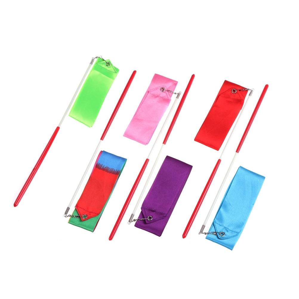 Colorful 2M Dance Ribbon Gym Rhythmic Gymnastics Art Gymnastic Ballet Streamer Twirling Rod Outdoor Sport Games