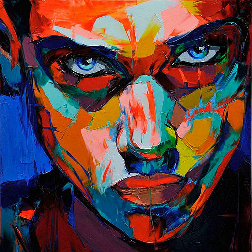 Portrait mur décor abstrait visage peinture à l'huile sur toile Impasto Figure couteau peinture mur Art photos pour décor à la maison coloré