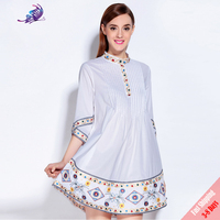 2017 Newest Runway Dress Women S Spring 100 Cotton High Quality Embroidery Half Sleeve Loose Cute