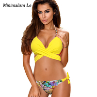 Minimalism Le Maillot Biquini 2017 Print Bandage Bikini Set Cross Patchwork Women Swimwear Swimsuit Push Up