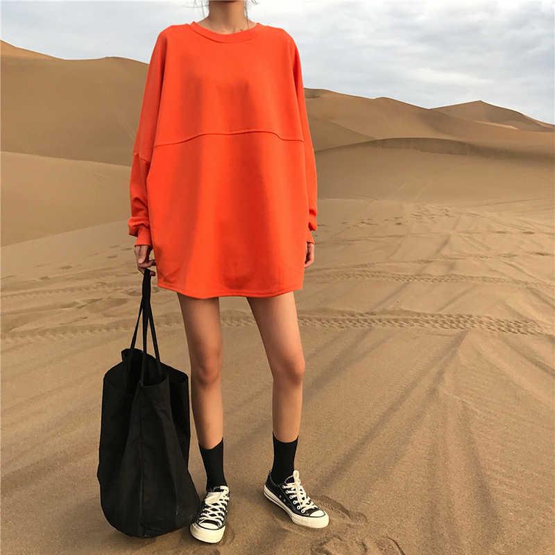Spring Autumn Port winds ins orange sweater female 2019 Korean version Harajuku bf loose long-sleeved T-shirt women A93
