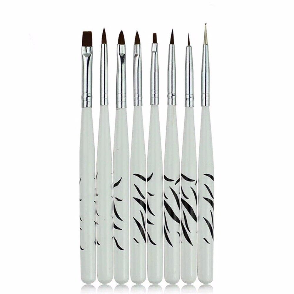 все цены на 8PCS/1Set Zebra Nail Art Dotting Manicure Painting Drawing Polish Brush Pen Tool Brushes for Manicure