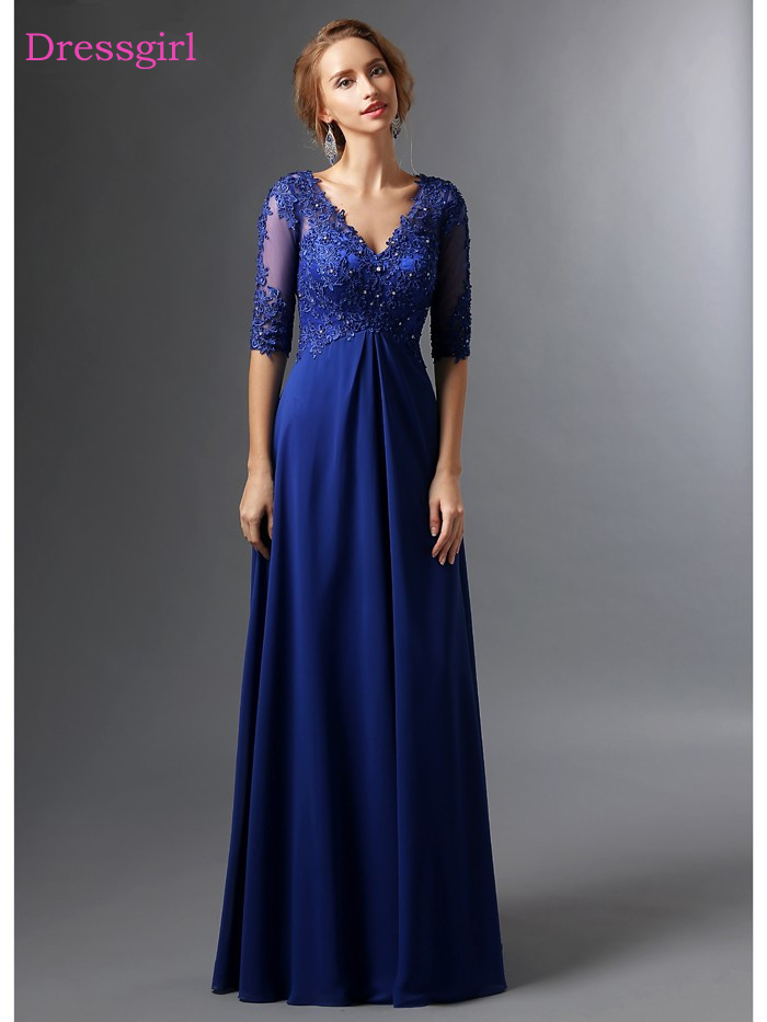 Royal Blue 2018 Mother Of The Bride Dresses A Line V Neck Half Sleeves Chiffon Lace