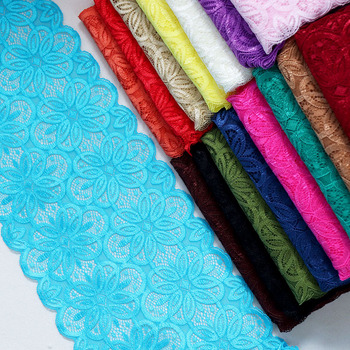 Эластичная нейлоновая кружевная отделка для самостоятельного изготовления одежды, аксессуары для повязки на голову, швейная аппликация, эластичная французская сетчатая кружевная ткань, 3 ярда, 18 см в ширину