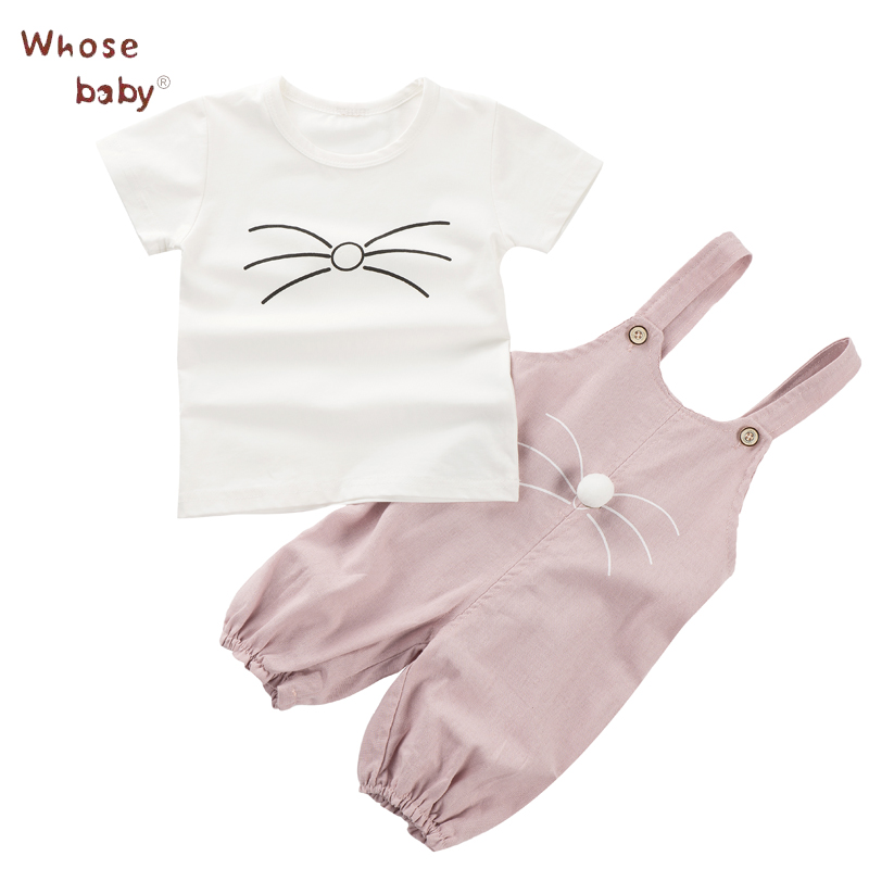 Baby Girl Clothing Set Summer Newborn Fashion Short Sleeves Character Cute Cat Infant Baby Sets Top+Pant Children Clothing Set 2017 new fall mustard yellow children sets ruffle butterfly sleeves infants clothing baby girl nursing accessory apparel
