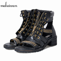 Mabaiwan New Women Shoes Genuine Leather Rivet Summer Ankle Boots For Woman Gladiator Sandals Peep Toe Slippers Flats Thick Heel