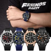 New Men Sport Calender Round Dial Chronograph Waterproof Quartz Wrist Watch