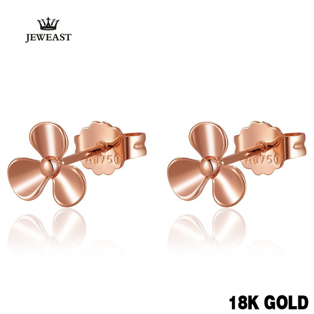 18k Pure Gold Petal Earrings Fresh And Elegant Simple Beautiful Romantic Women Girl Gift Party Classic 2017 New Hot Selling