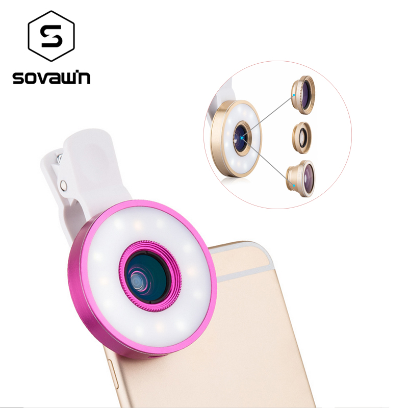 Universal Clip Fish Eye Mobile Phone Lenses Kit 6 in 1 LED Lighting 185 Fisheye +0.65X Wide Angle+Macro Lenses For iPhone Xiaomi image